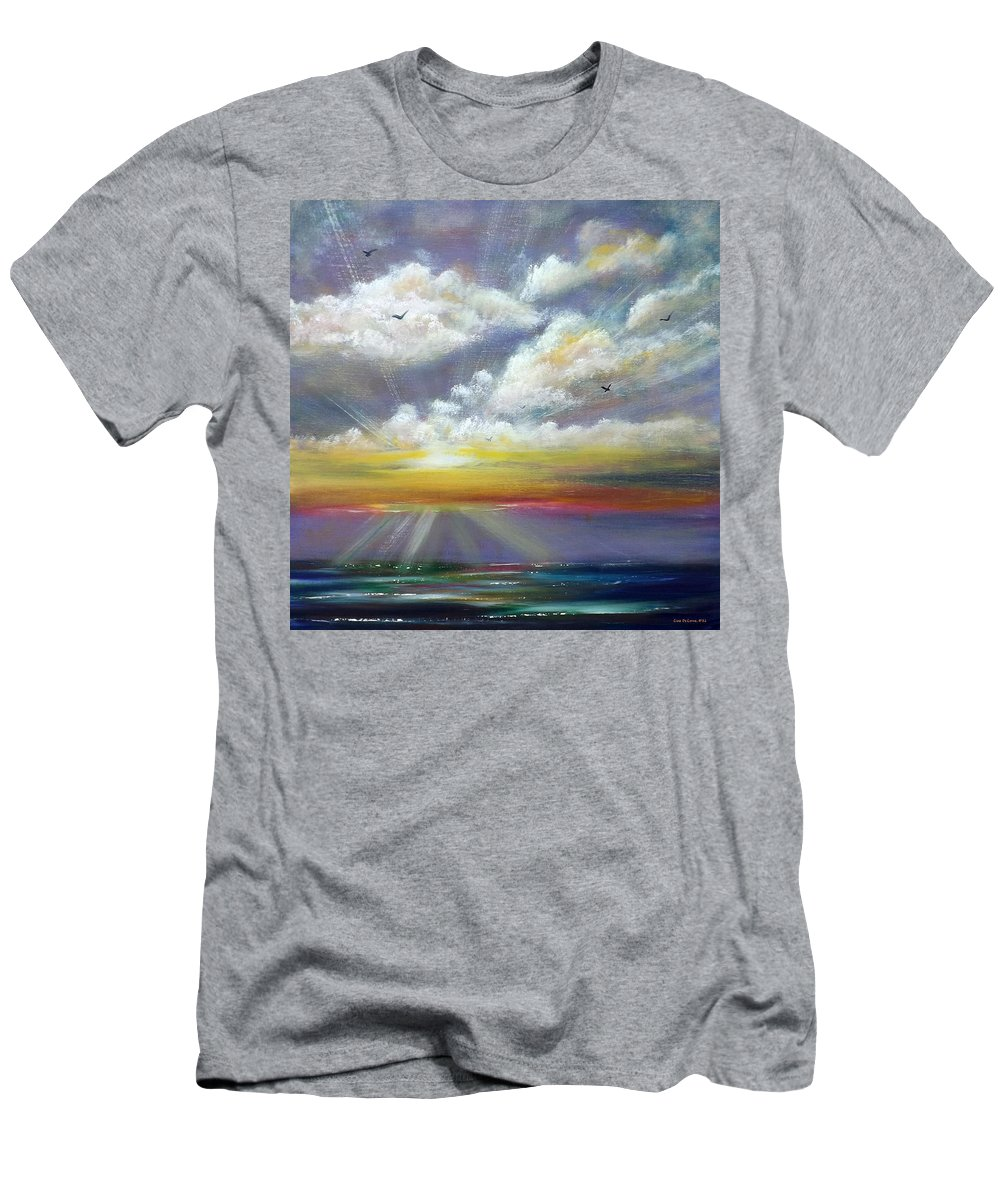 Sunset Men's T-Shirt (Athletic Fit) featuring the painting Radiance - Square Sunset by Gina De Gorna