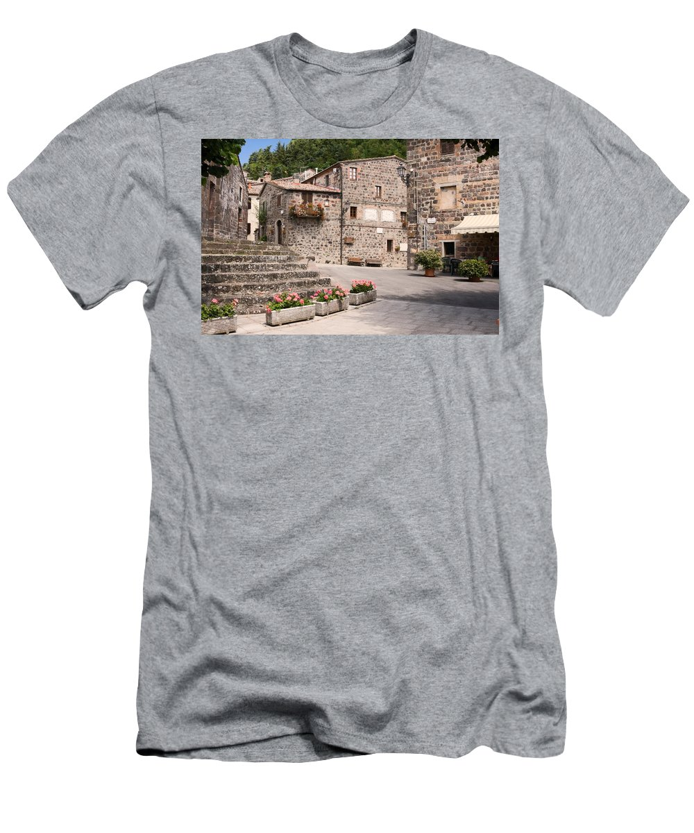 Street Scene Men's T-Shirt (Athletic Fit) featuring the photograph Radicofani Italy Street Scene by Sally Weigand