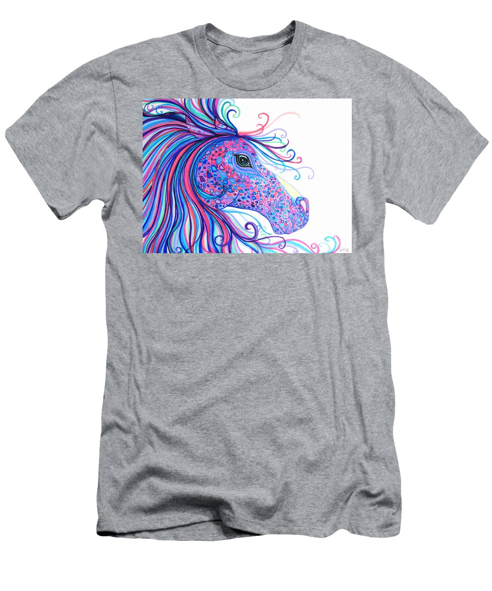 Horse Men's T-Shirt (Athletic Fit) featuring the drawing Rainbow Spotted Horse by Nick Gustafson