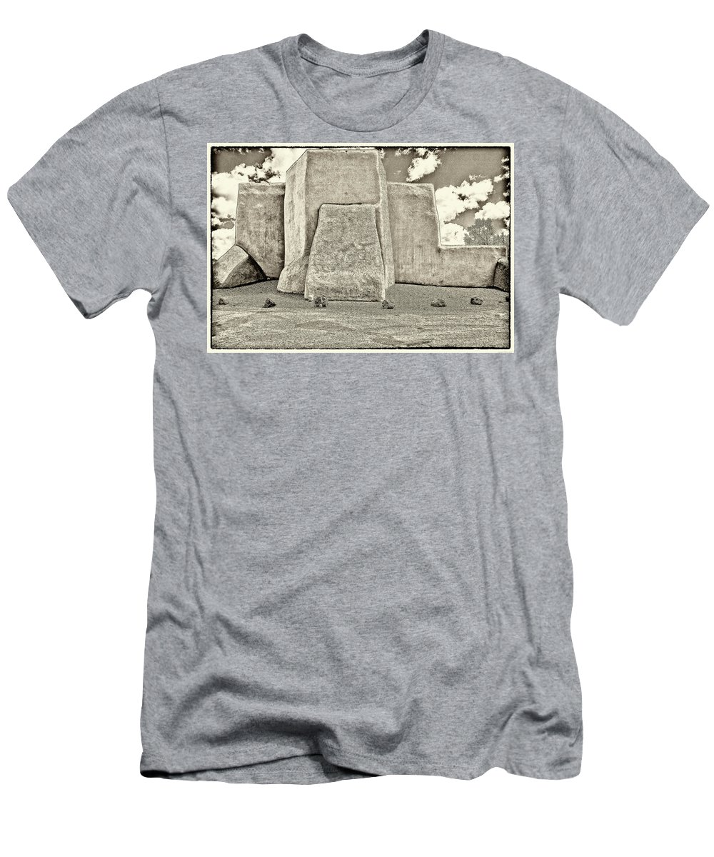 Ranchos Men's T-Shirt (Athletic Fit) featuring the photograph Ranchos Church Old Photo by Charles Muhle
