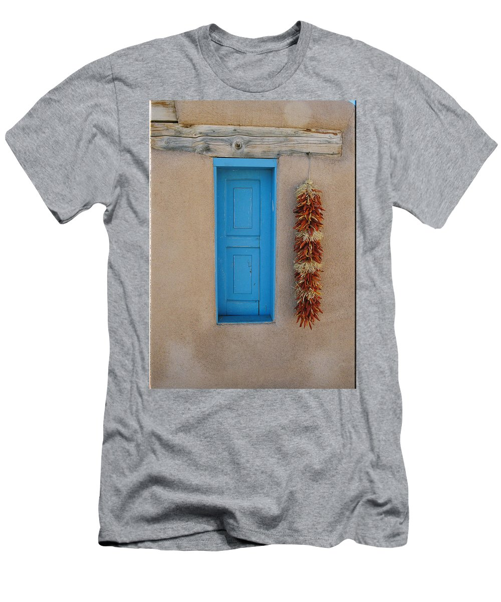 Taos Men's T-Shirt (Athletic Fit) featuring the photograph Ranchos De Taos Wall by Ron Weathers