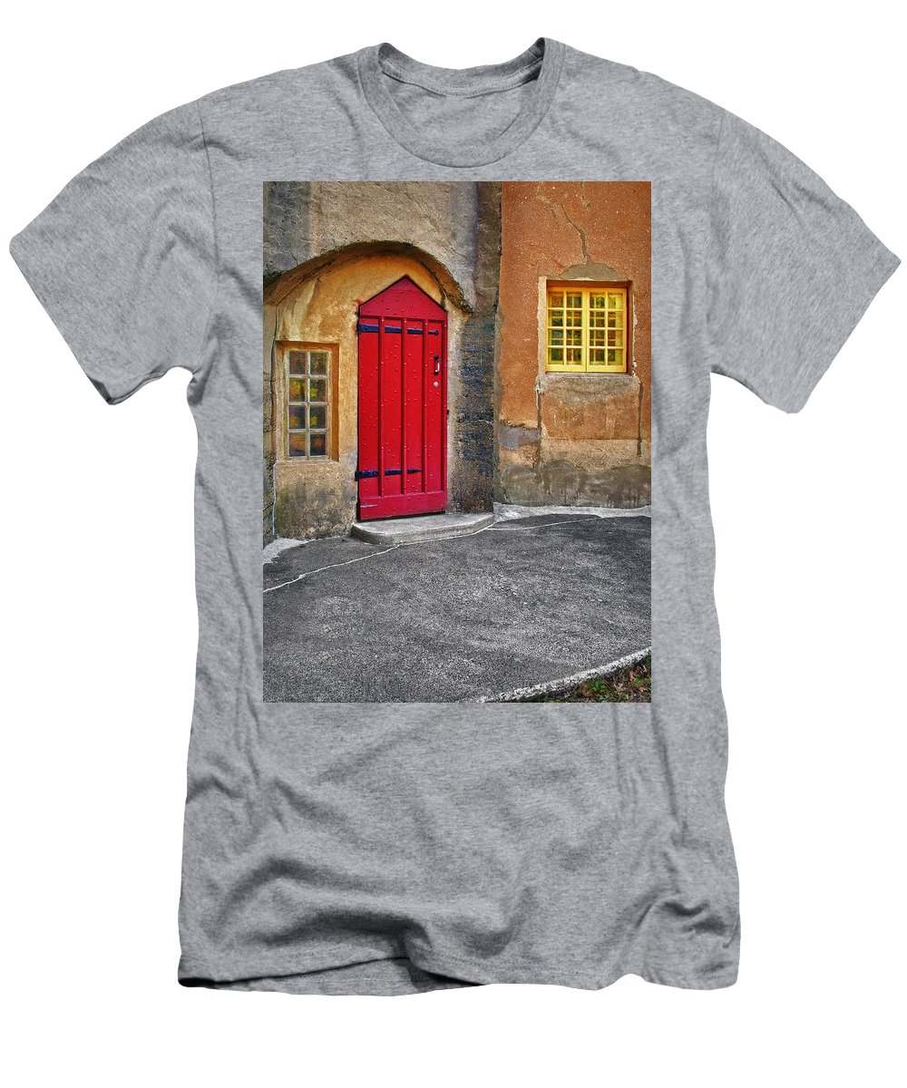 Medieval Men's T-Shirt (Athletic Fit) featuring the photograph Red Door And Yellow Windows by Susan Candelario