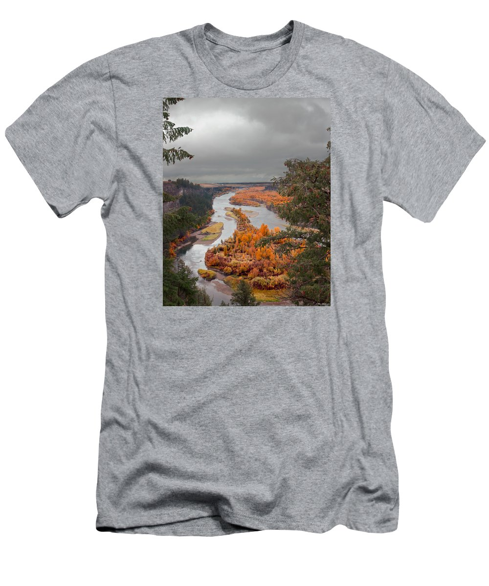 River Men's T-Shirt (Athletic Fit) featuring the photograph River Overlook by Grant Groberg