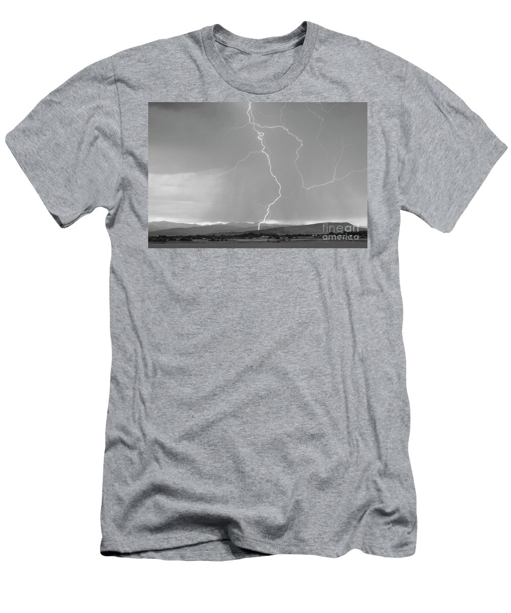 July Men's T-Shirt (Athletic Fit) featuring the photograph Rocky Mountain Front Range Foothills Lightning Strikes 1 Bw by James BO Insogna