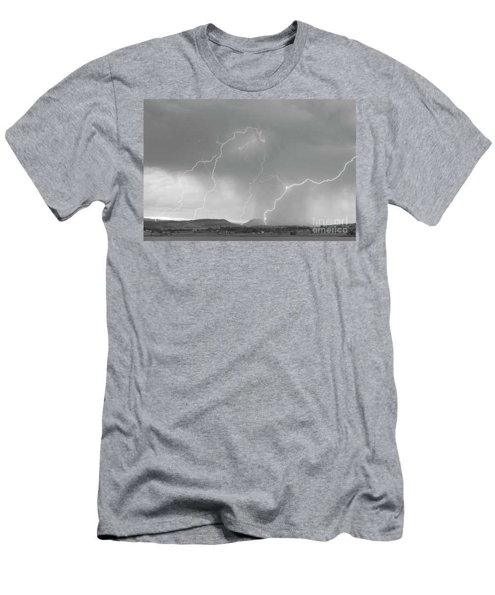 Bo Insogna Men's T-Shirt (Athletic Fit) featuring the photograph Rocky Mountain Front Range Foothills Lightning Strikes Bw by James BO Insogna