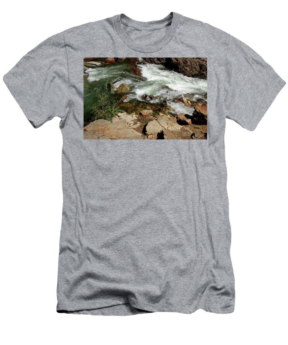 Usa Men's T-Shirt (Athletic Fit) featuring the photograph Rushing Water Glen Alpine Creek by LeeAnn McLaneGoetz McLaneGoetzStudioLLCcom