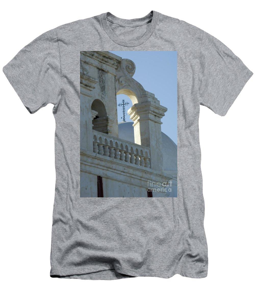 San Xavier Del Bac Mission Men's T-Shirt (Athletic Fit) featuring the photograph San Xavier Del Bac Vignette by Bob Christopher