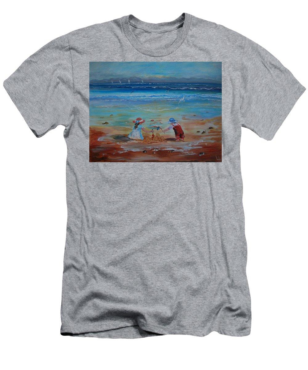 Seascape Men's T-Shirt (Athletic Fit) featuring the painting Sandcastle by Leslie Allen