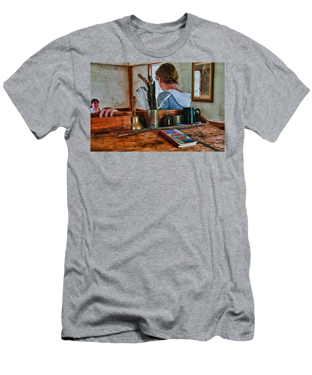 Guy Whiteley Photography Men's T-Shirt (Athletic Fit) featuring the photograph Schoolmarm's Desk by Guy Whiteley