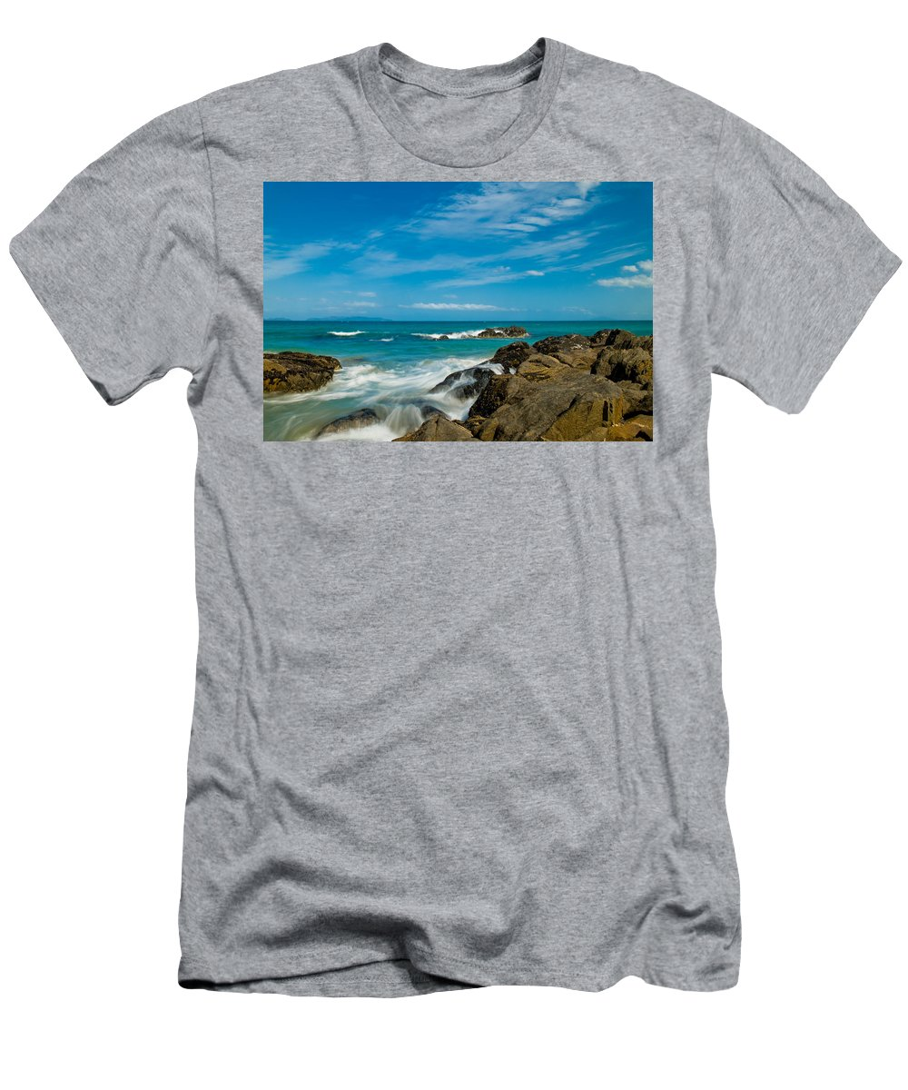 Bay Men's T-Shirt (Athletic Fit) featuring the photograph Sea Landscape With Beach Coast Rocks And Blue Sky by U Schade