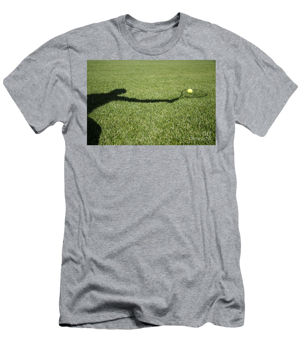 Tennis Men's T-Shirt (Athletic Fit) featuring the photograph Shadow Playing Tennis by Mats Silvan