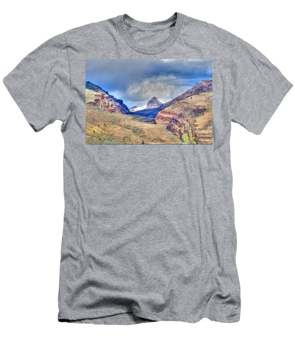 Desert Men's T-Shirt (Athletic Fit) featuring the photograph Sheep Rock Mountain by One Rude Dawg Orcutt