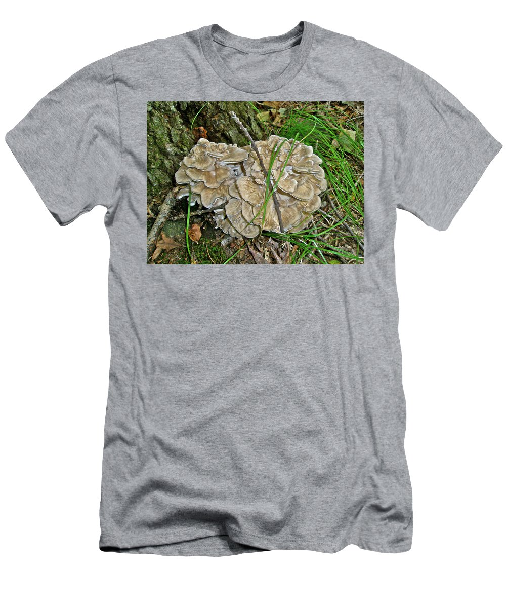Fungus Men's T-Shirt (Athletic Fit) featuring the photograph Shelf Fungus - Grifola Frondosa by Mother Nature