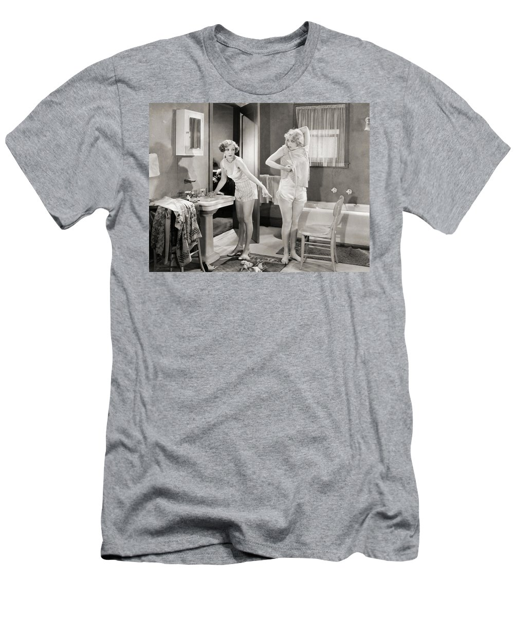 -bathing & Bathrooms- Men's T-Shirt (Athletic Fit) featuring the photograph Silent Still: Bathroom by Granger