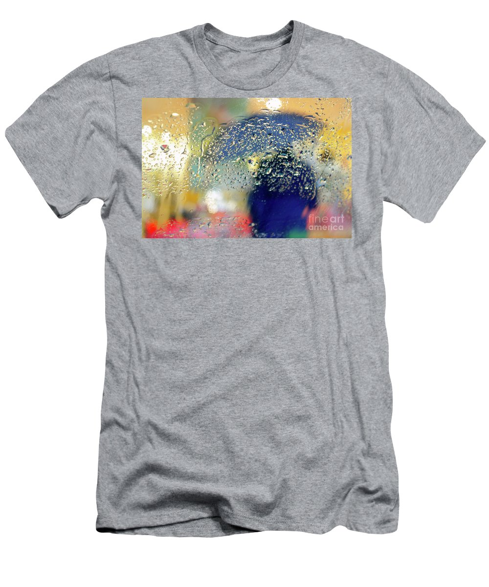 Abstract Men's T-Shirt (Athletic Fit) featuring the photograph Silhouette In The Rain by Carlos Caetano