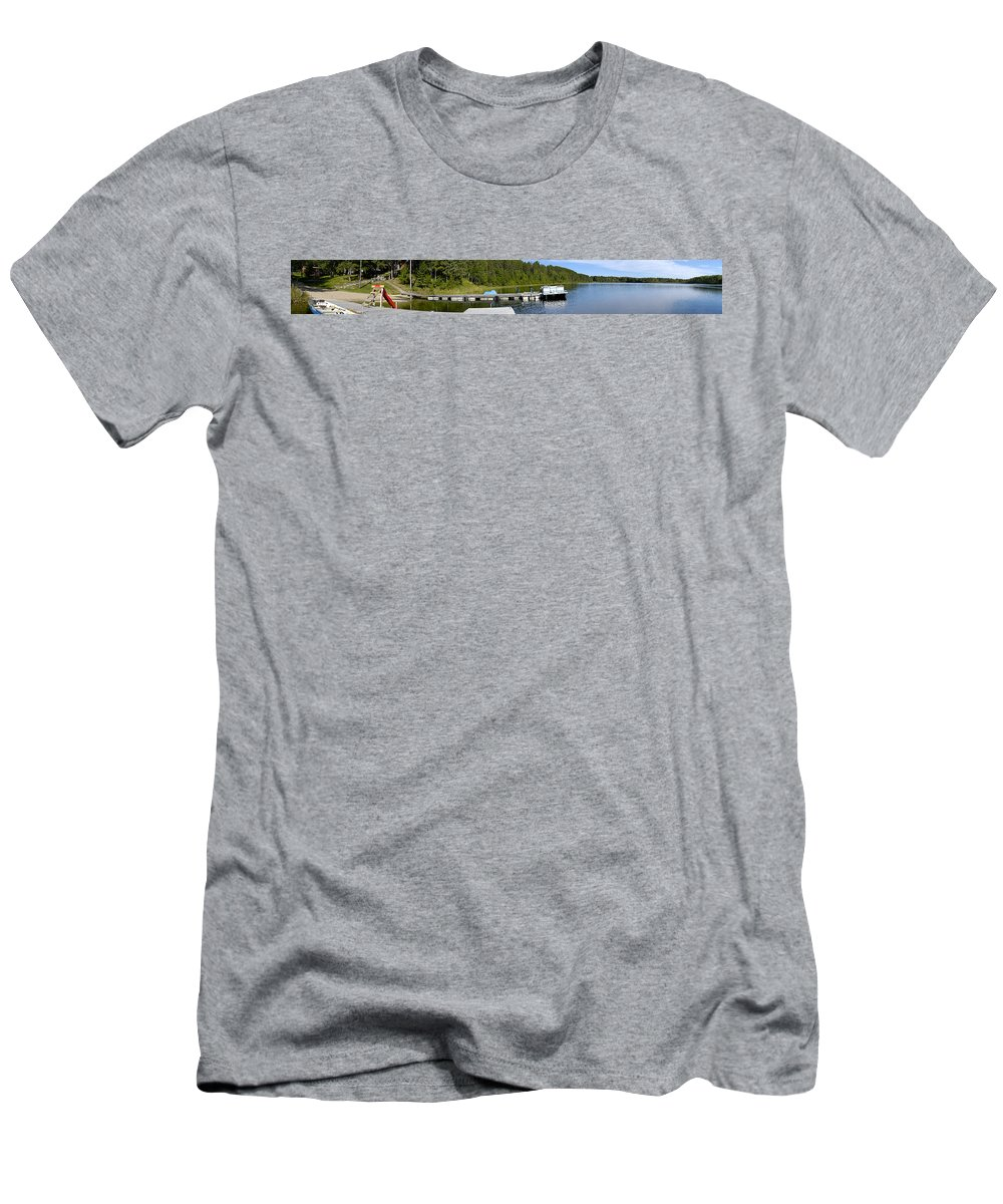 Americas Men's T-Shirt (Athletic Fit) featuring the photograph Simple Waterslide On Portage Lake by Roderick Bley
