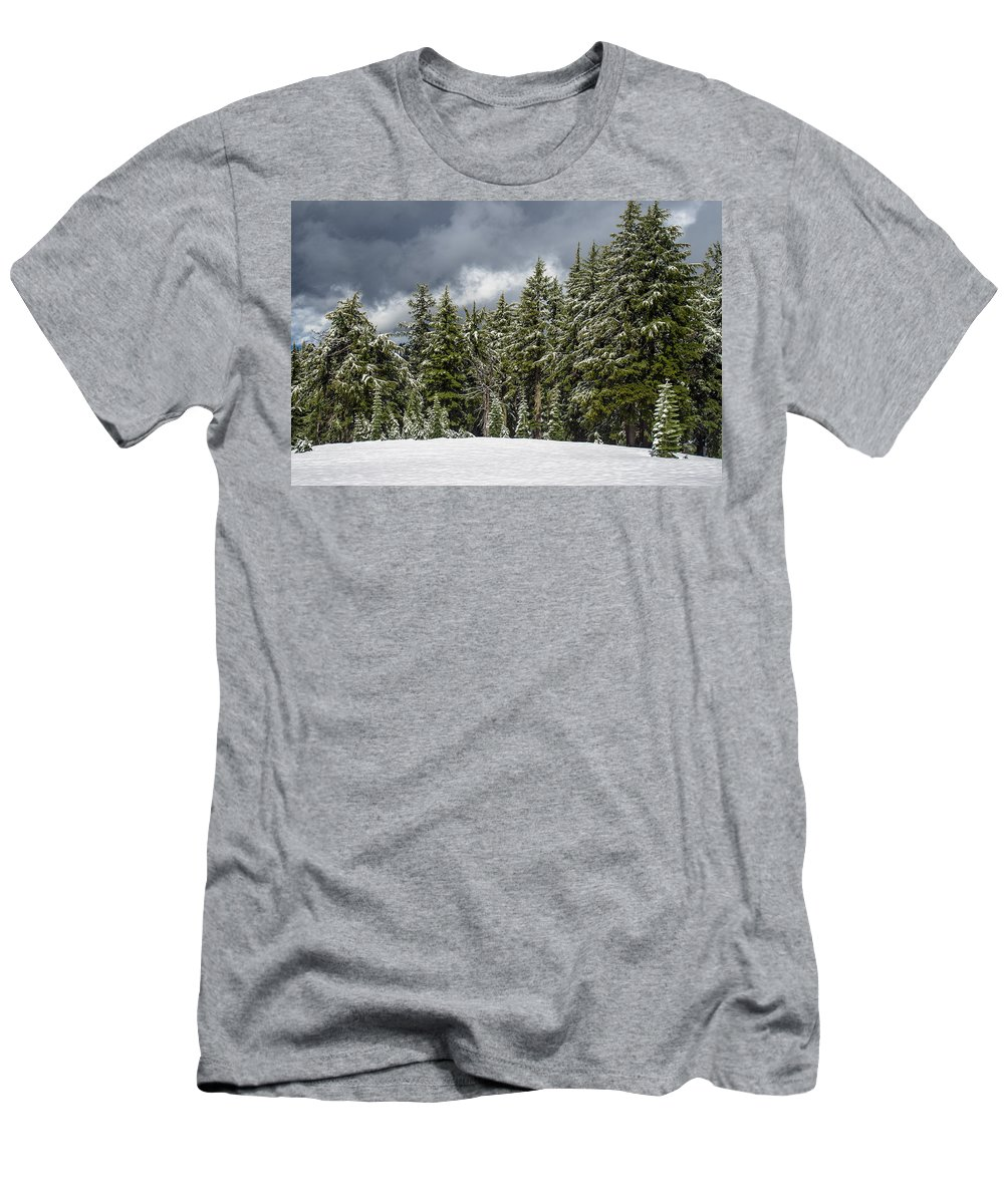 Cascades Men's T-Shirt (Athletic Fit) featuring the photograph Snowstorm In The Cascades by Greg Nyquist