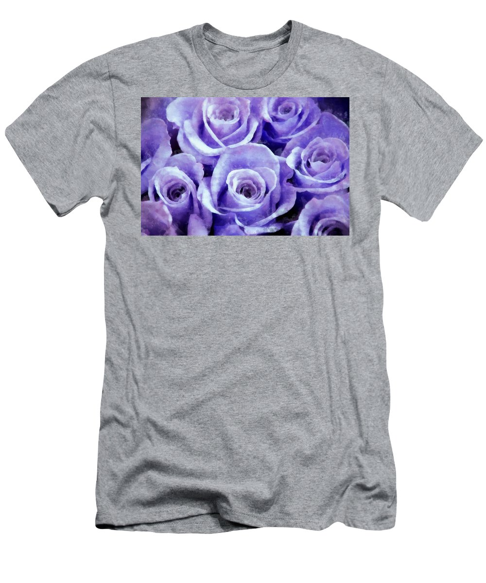 Lavender Roses Men's T-Shirt (Athletic Fit) featuring the photograph Soft Lavender Roses by Angelina Vick