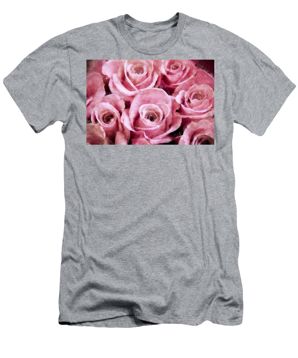 Pink Men's T-Shirt (Athletic Fit) featuring the photograph Soft Pink Roses by Angelina Vick