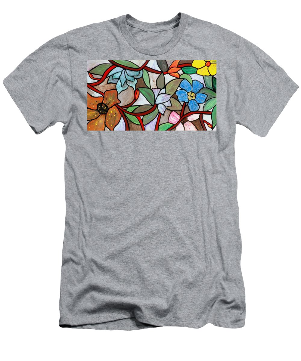 Original Men's T-Shirt (Athletic Fit) featuring the painting Stained Glass Wild Flowers by Cynthia Amaral
