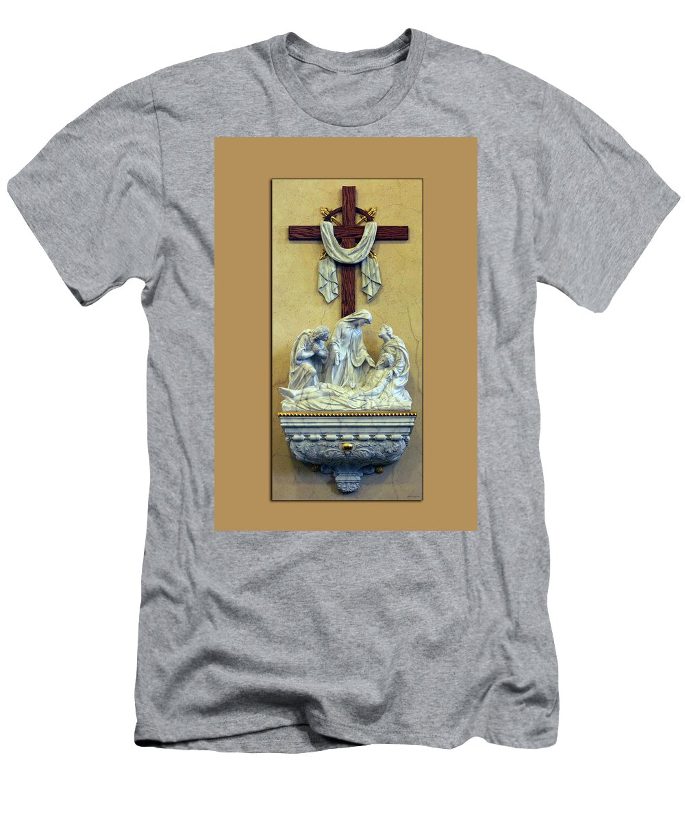 Statue Men's T-Shirt (Athletic Fit) featuring the photograph Station Of The Cross 13 by Thomas Woolworth