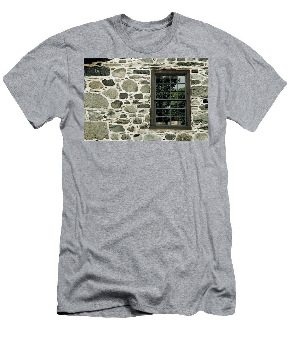 Architecture Men's T-Shirt (Athletic Fit) featuring the photograph Stone Wall With A Window by David Chapman