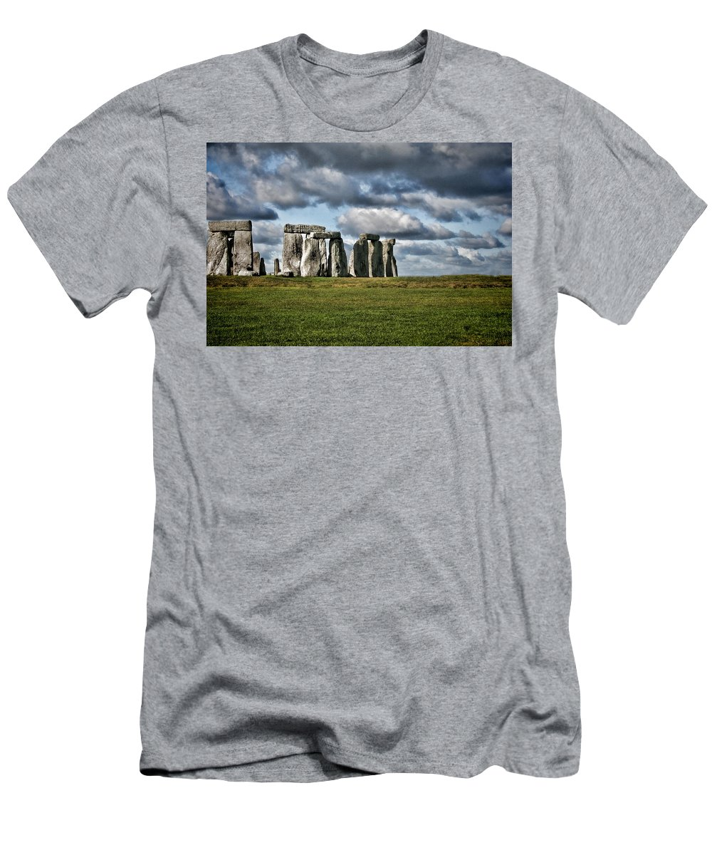 Stonehenge Men's T-Shirt (Athletic Fit) featuring the photograph Stonehenge Landscape by Heather Applegate