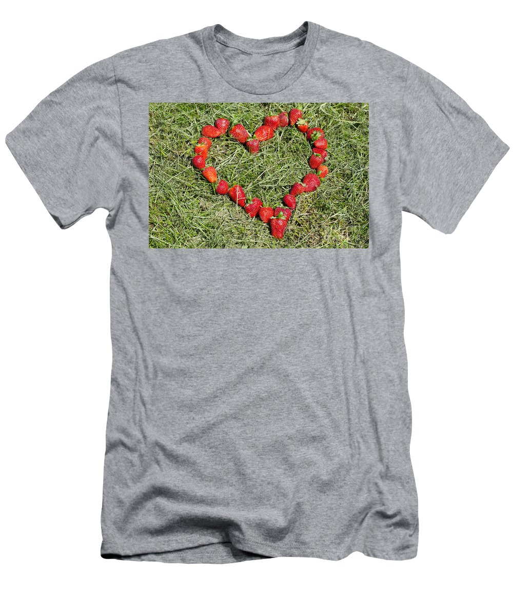 Heart Men's T-Shirt (Athletic Fit) featuring the photograph Strawberry Heart by Mats Silvan