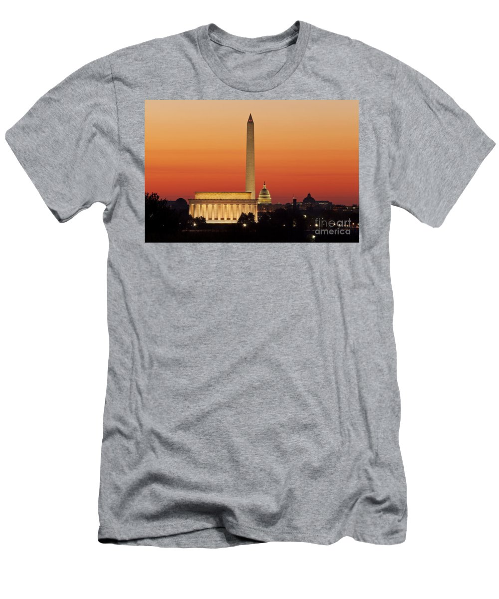 Dawn Men's T-Shirt (Athletic Fit) featuring the photograph Sunrise Over Washington Dc by Brian Jannsen