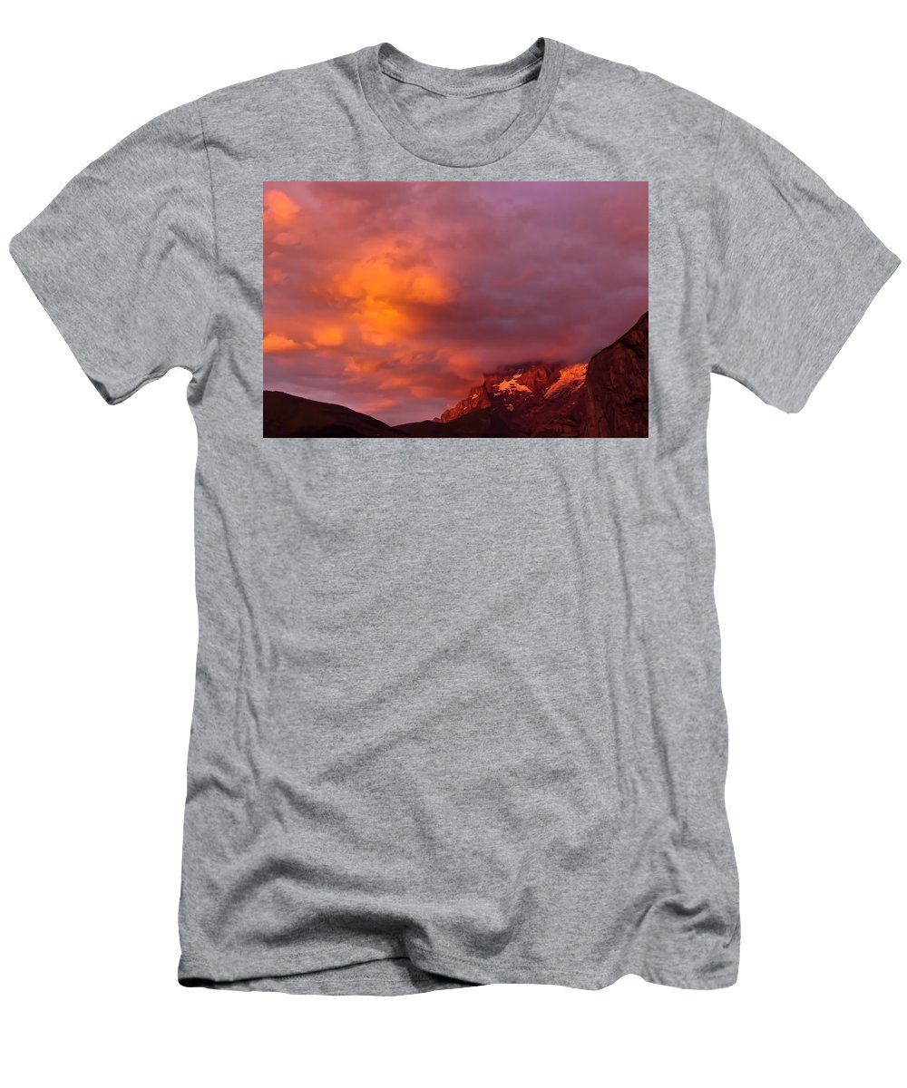 Sky Men's T-Shirt (Athletic Fit) featuring the photograph Sunset Murren Switzerland by Tom and Pat Cory
