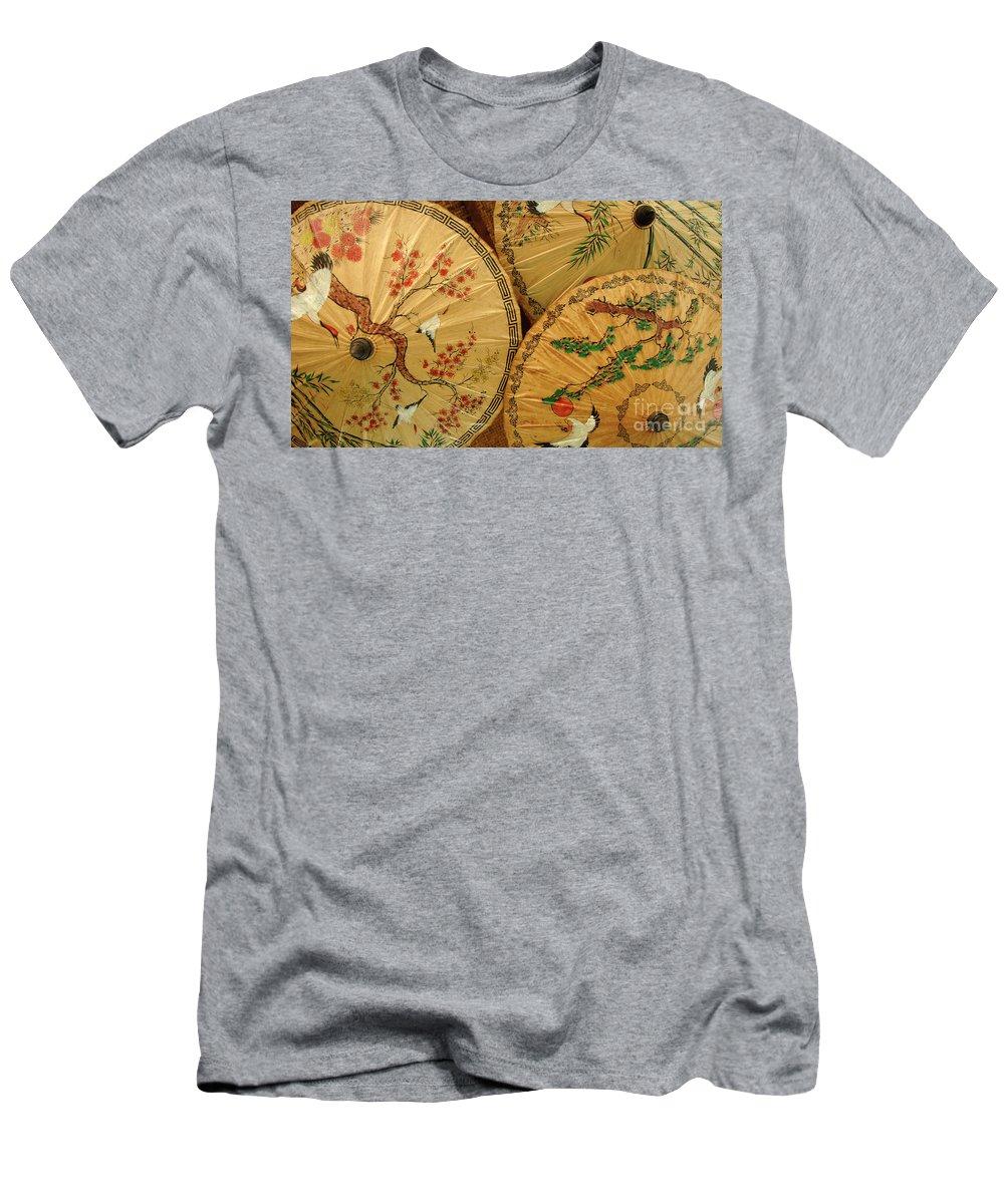 Umbrella Men's T-Shirt (Athletic Fit) featuring the photograph Thai Umbrellas 2 by Bob Christopher