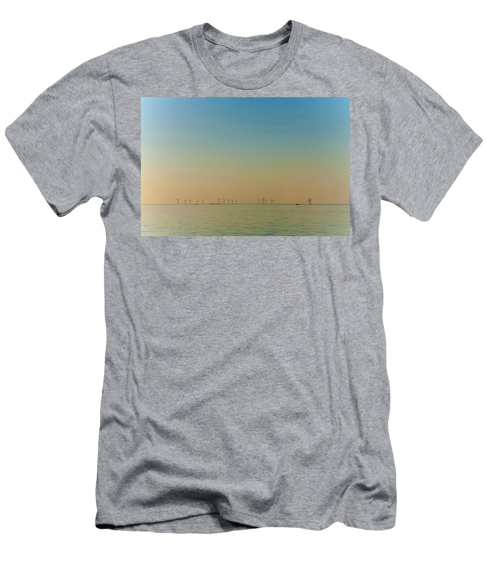 Wind Farm Men's T-Shirt (Athletic Fit) featuring the photograph Thanet Wind Farm by Dawn OConnor