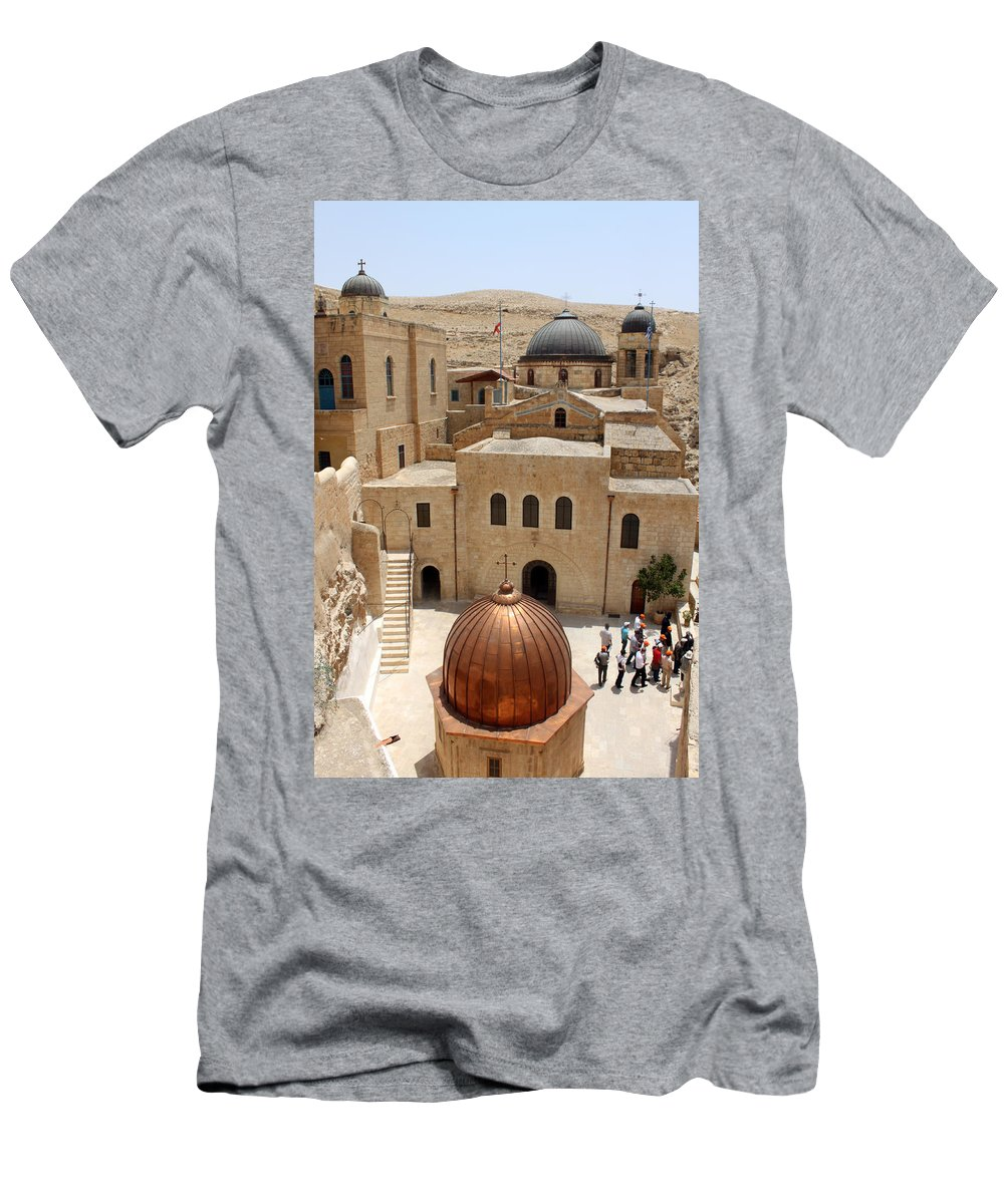 Mar Saba Men's T-Shirt (Athletic Fit) featuring the photograph The Church Court by Munir Alawi