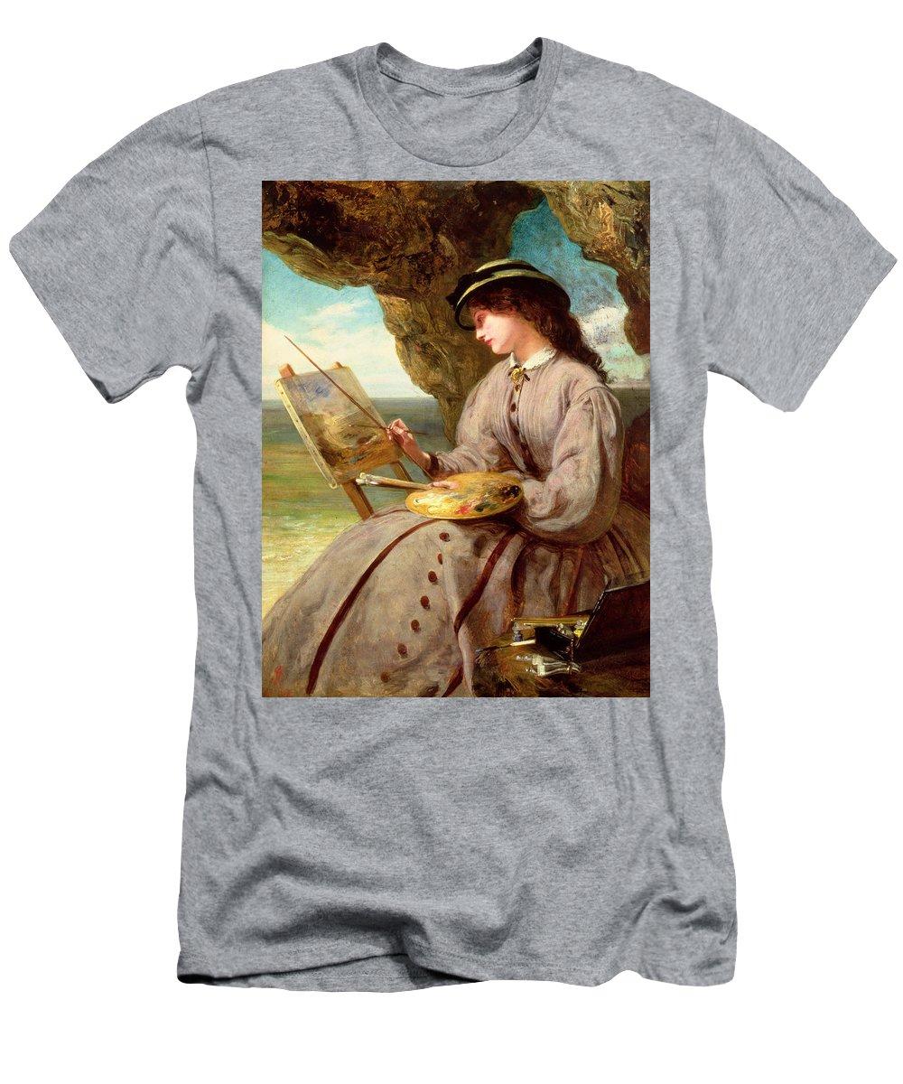 Fair Men's T-Shirt (Athletic Fit) featuring the painting The Fair Amateur by Abraham Solomon