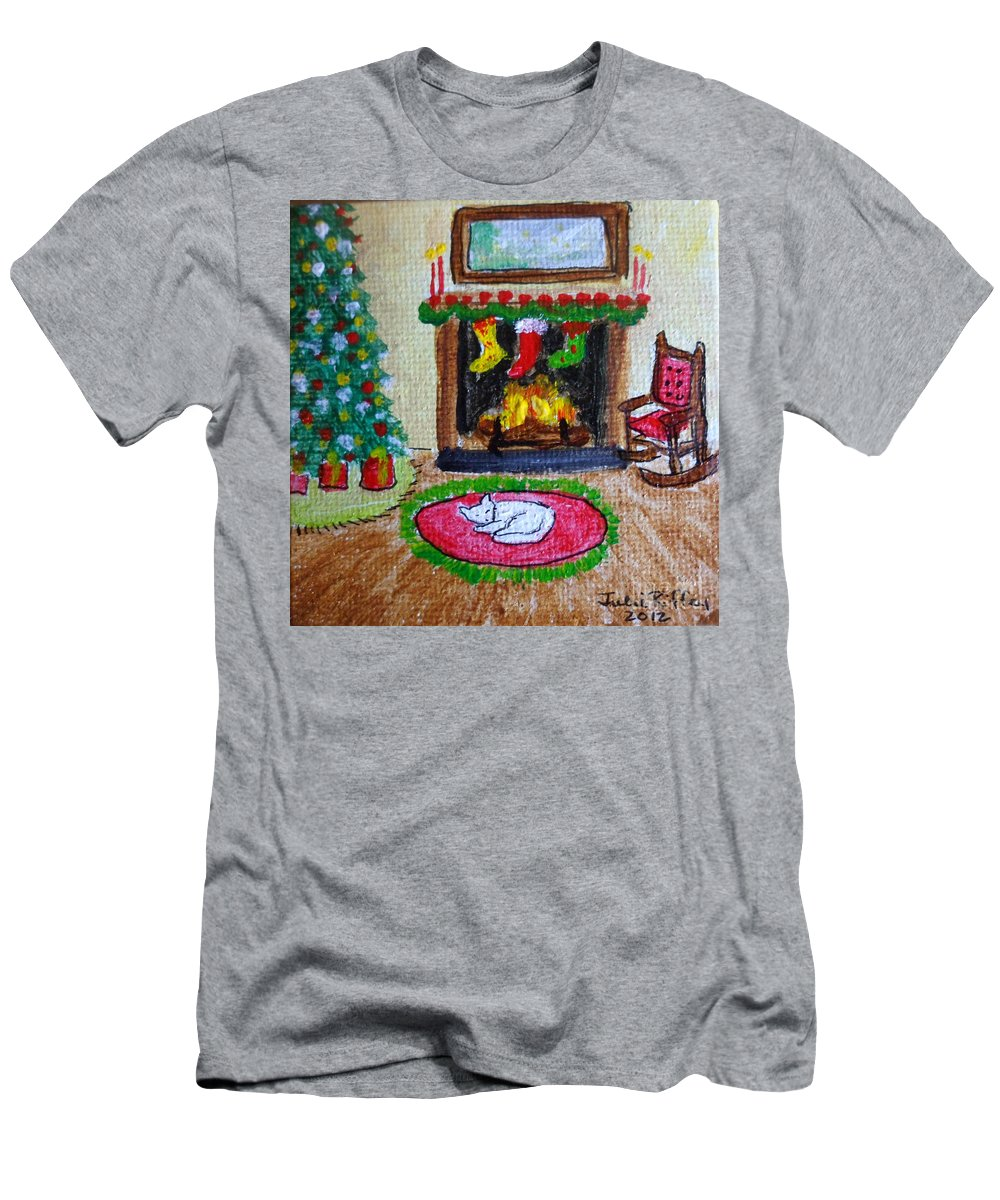 Fireside Men's T-Shirt (Athletic Fit) featuring the painting The Stockings Were Hung by Julie Brugh Riffey