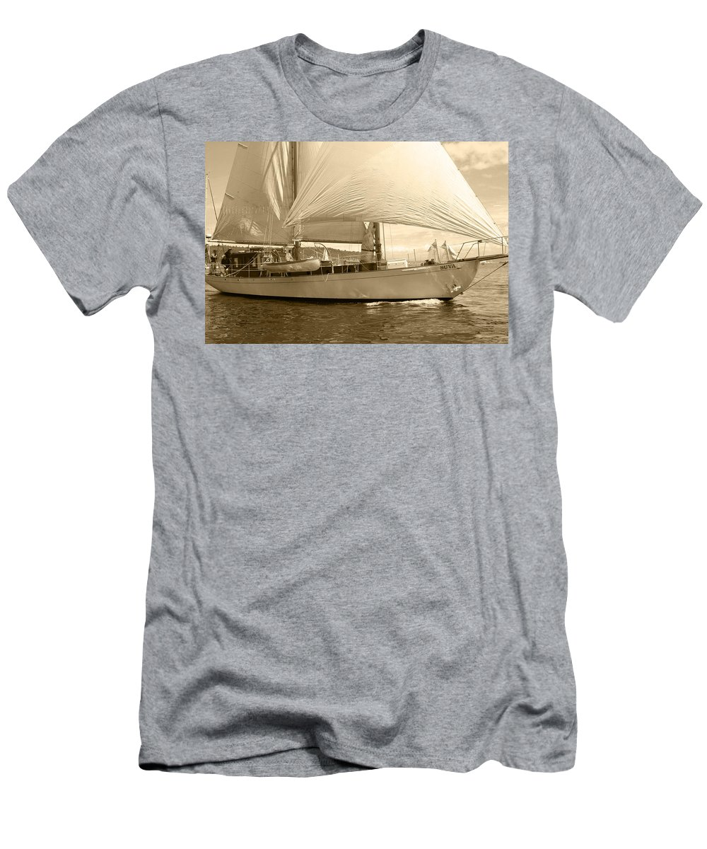 Sailboat Men's T-Shirt (Athletic Fit) featuring the photograph The Suva In Sepia by Kym Backland