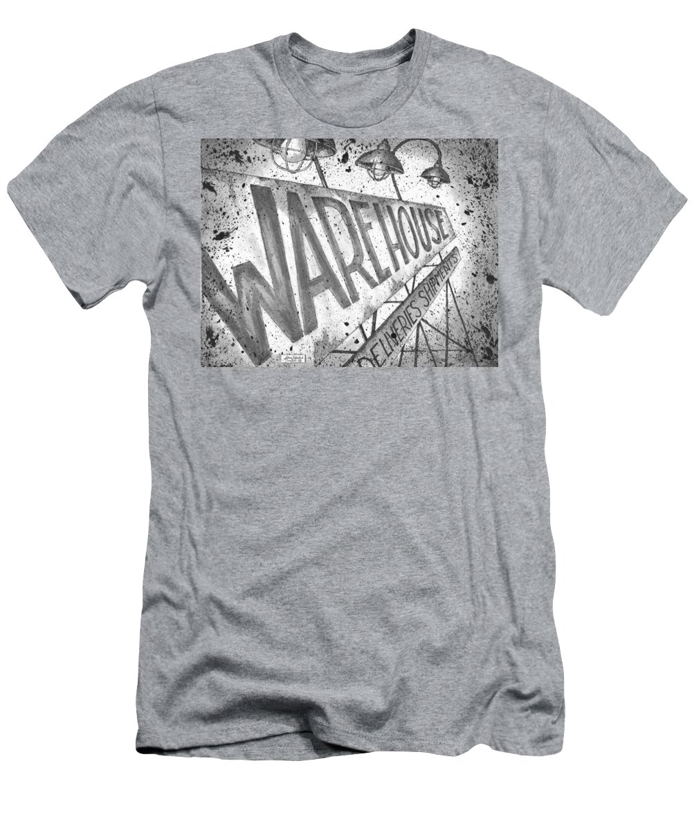 Art Men's T-Shirt (Athletic Fit) featuring the drawing The Warehouse by Adam Zebediah Joseph