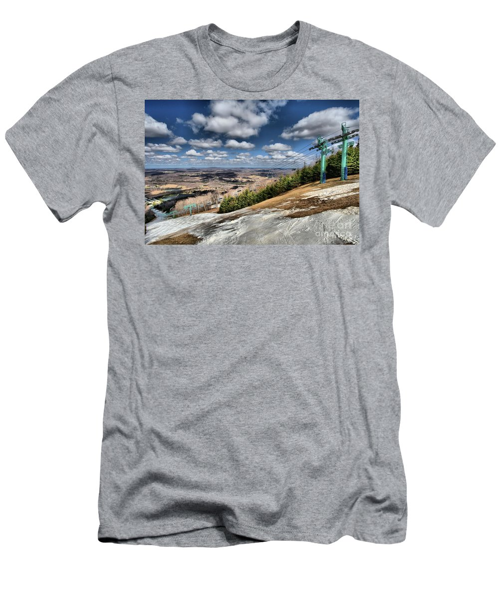 Skiing Men's T-Shirt (Athletic Fit) featuring the photograph Thin Cover by Adam Jewell