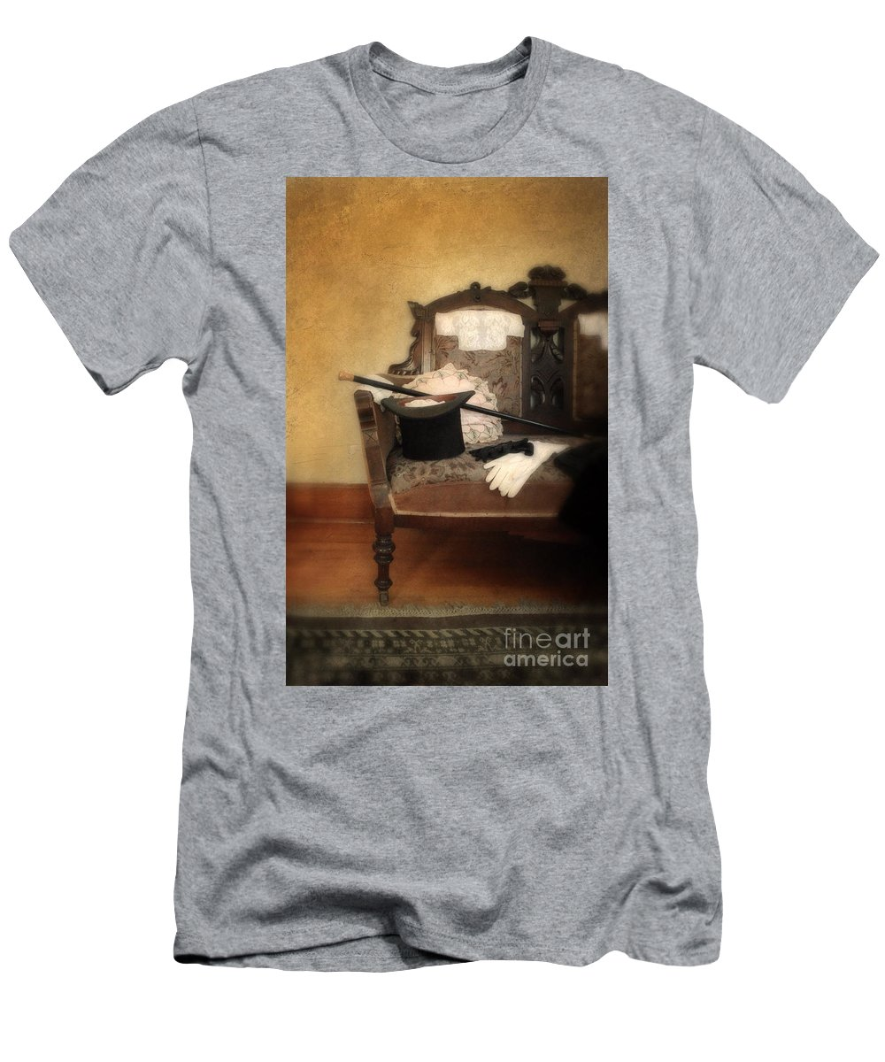 Hat Men's T-Shirt (Athletic Fit) featuring the photograph Top Hat And Cane On Sofa by Jill Battaglia