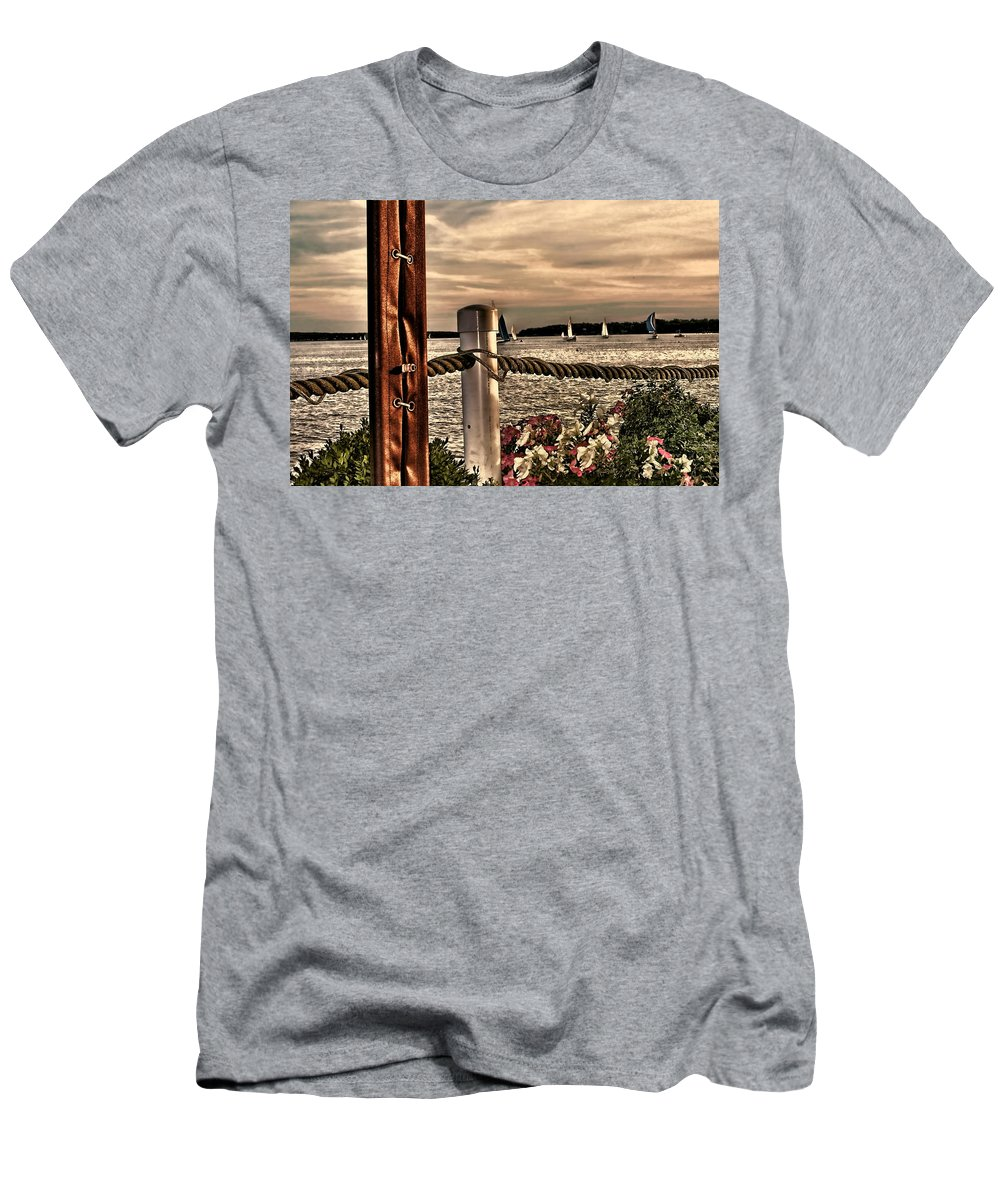 Oceans Men's T-Shirt (Athletic Fit) featuring the photograph Top Of The Bay by Tom Prendergast