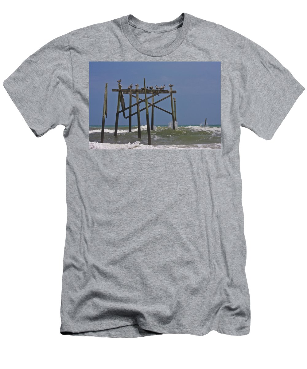 Topsail Men's T-Shirt (Athletic Fit) featuring the photograph Topsail Ocean City Pelicans by Betsy Knapp