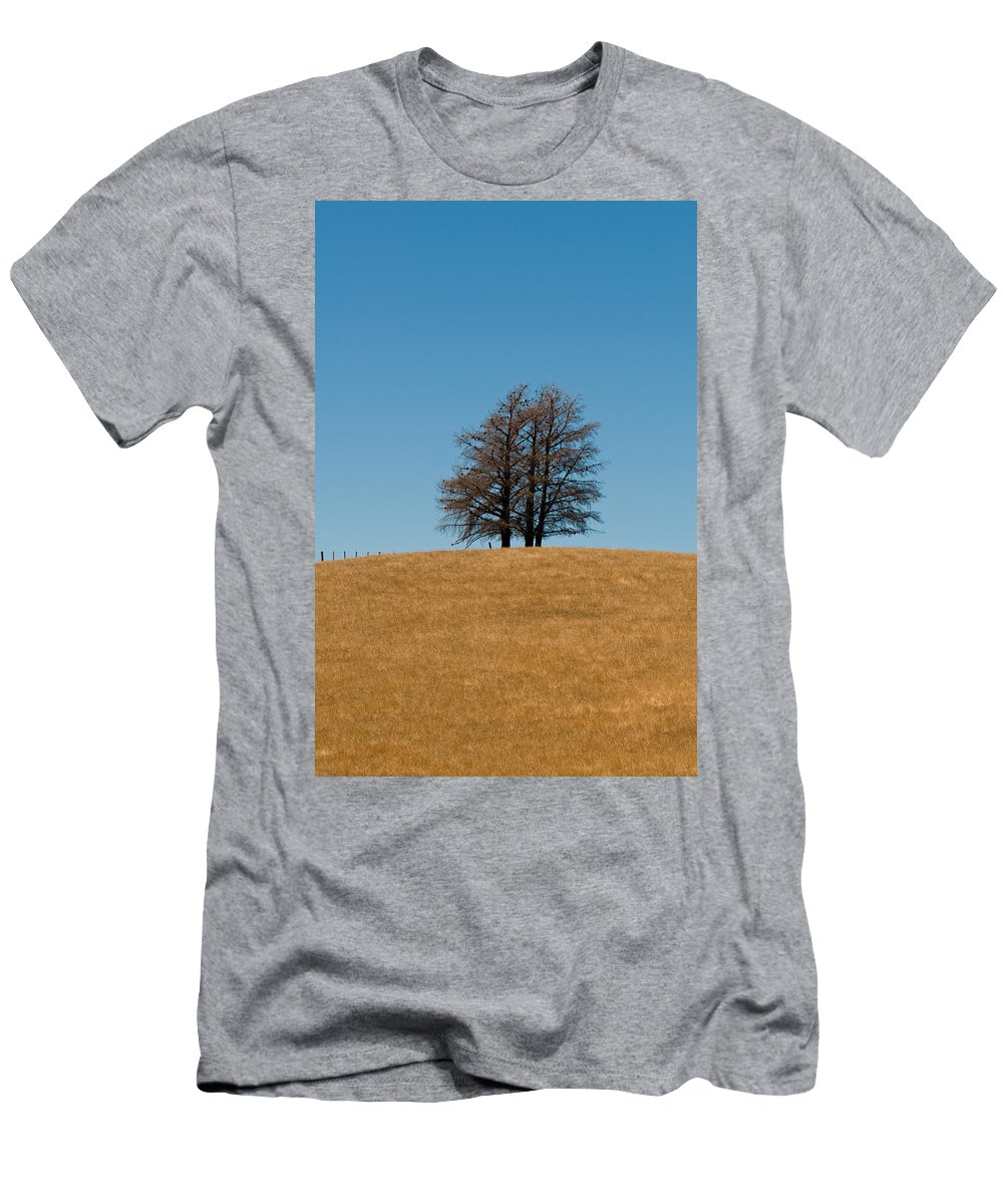 Agriculture Men's T-Shirt (Athletic Fit) featuring the photograph Tree Formation On A Hill Of Veldt by U Schade