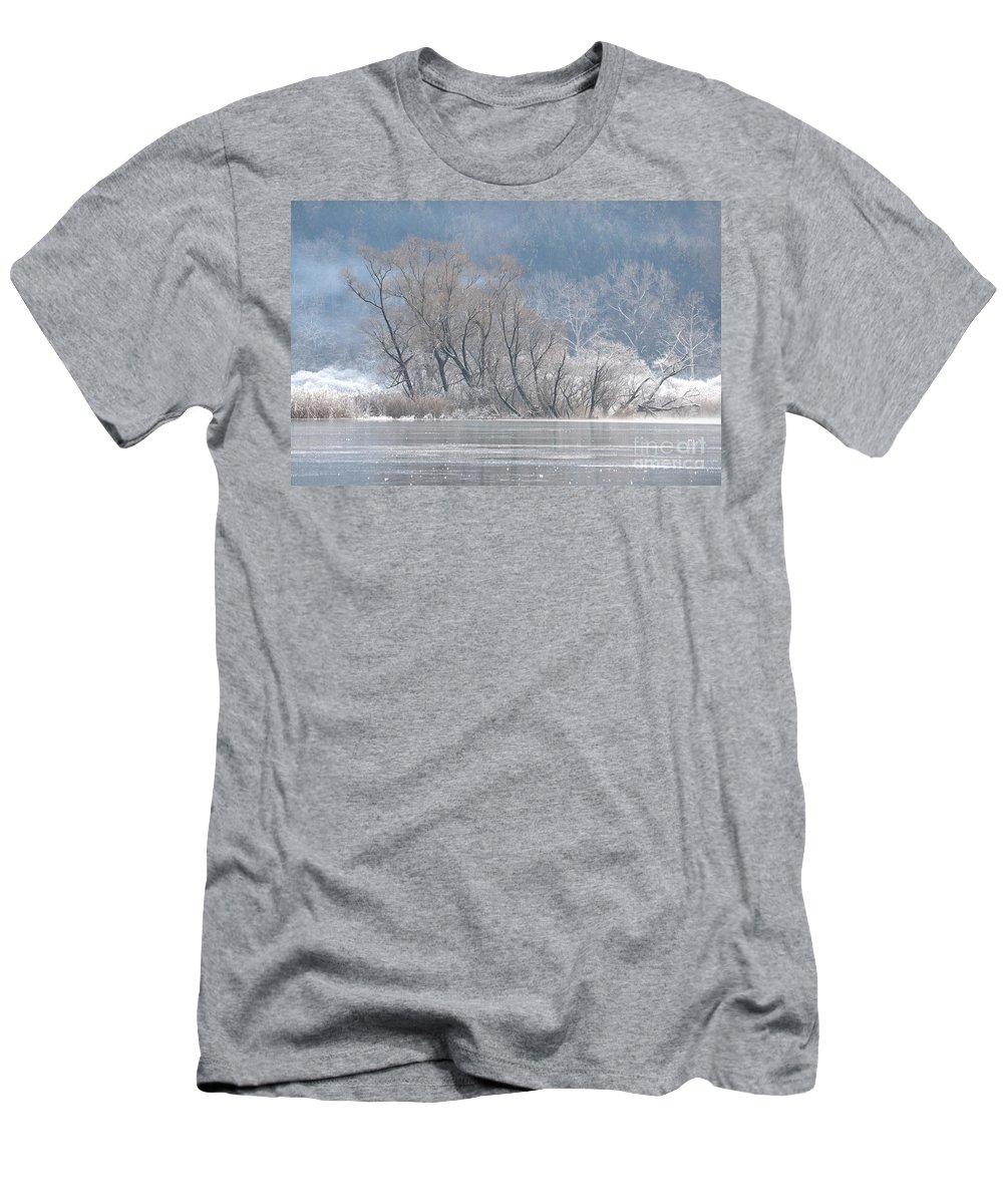 Ice Men's T-Shirt (Athletic Fit) featuring the photograph Trees On A Frozen Lake by Mats Silvan