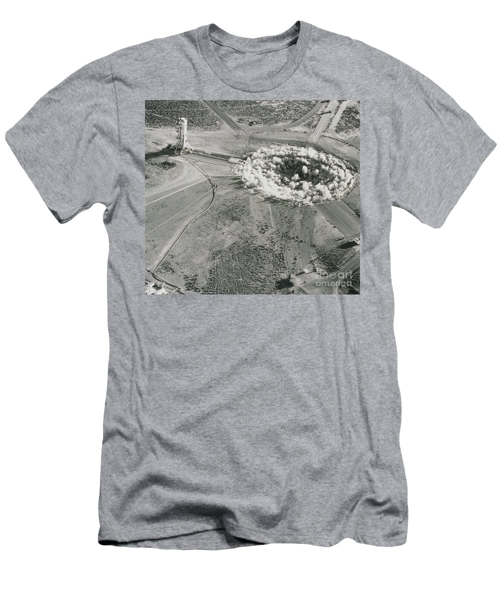 Alamogordo A-bomb Test Site Men's T-Shirt (Athletic Fit) featuring the photograph Underground Atomic Bomb Test by Los Alamos National Laboratory