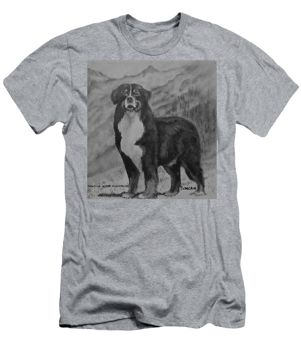 Bernese Men's T-Shirt (Athletic Fit) featuring the drawing Waiting In The Mountains by Ralph Duncan