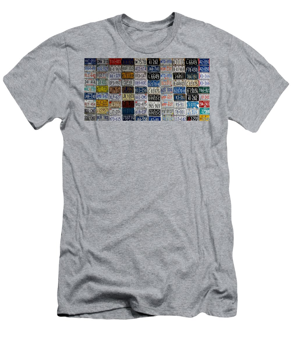 Auto Men's T-Shirt (Athletic Fit) featuring the photograph Wall Of License Plates by Andrew Fare