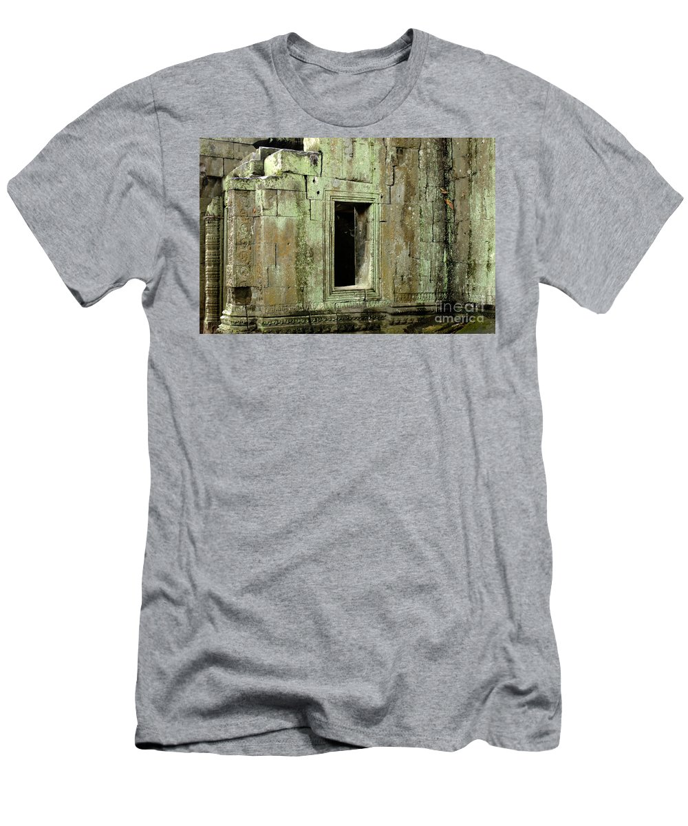 Cambodian Youth Men's T-Shirt (Athletic Fit) featuring the pyrography Wall Ta Prohm by Bob Christopher