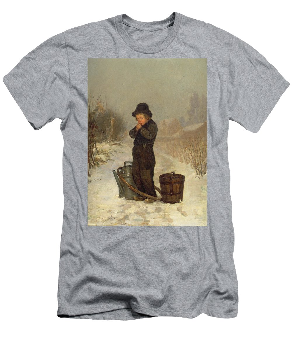 Child; Boy; Male; Snow; Cold; Snowy; Frozen; Buckets; Bucket; Pail; Pails; Winter; Landscape; Victorian; Collecting Water Men's T-Shirt (Athletic Fit) featuring the painting Warming His Hands by Henry Bacon