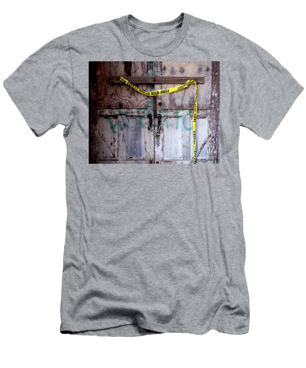 Door Men's T-Shirt (Athletic Fit) featuring the photograph Warning by Betty Northcutt