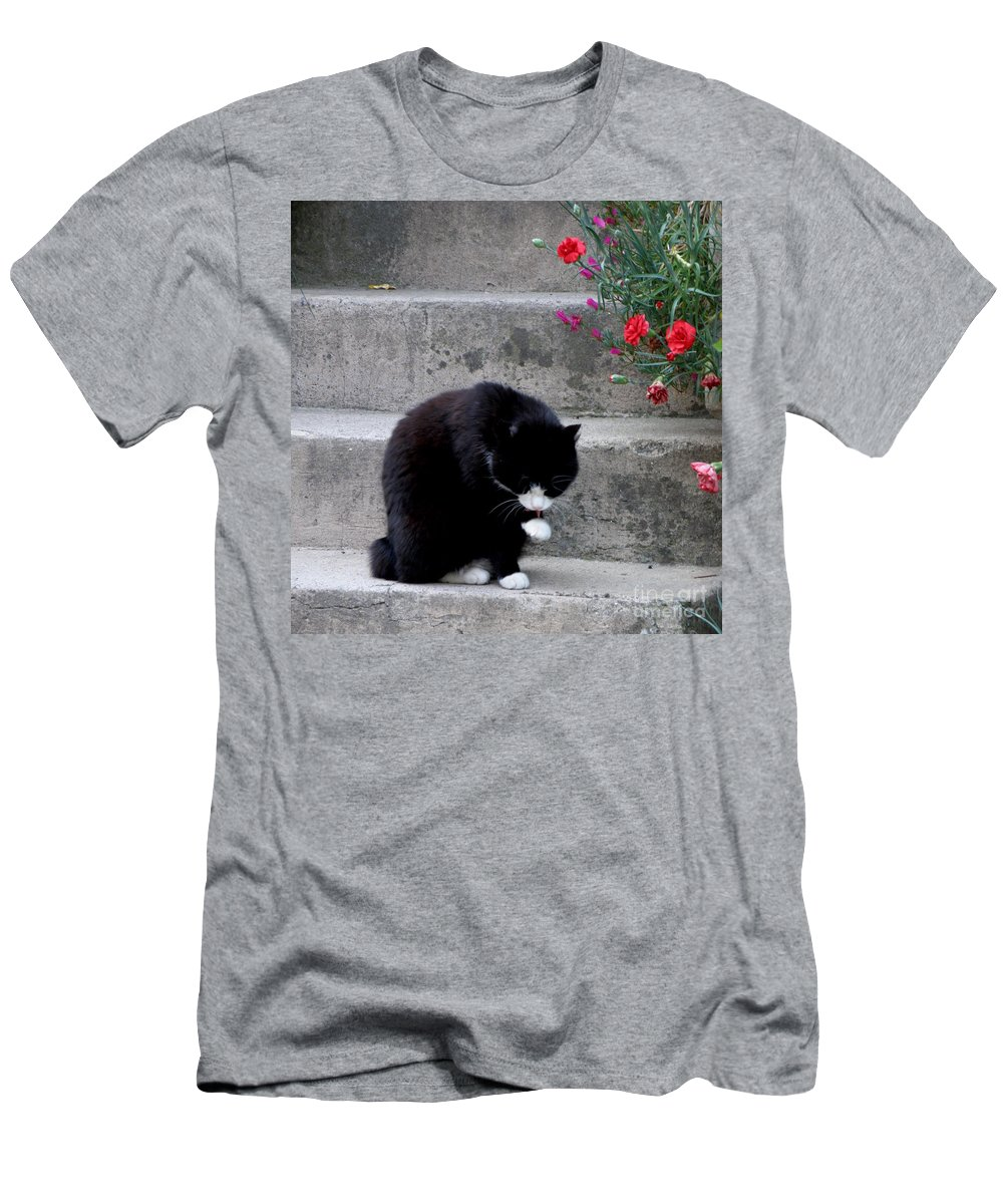 Cat Men's T-Shirt (Athletic Fit) featuring the photograph Washing Up by Lainie Wrightson